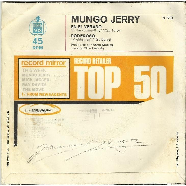 Mungo Jerry En el verano (In the summertime) / Poderoso (Mighty man)