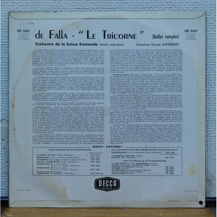 Falla Ernest Ansermet LOrchestre De La Suisse Romande The Three Cornered Hat La Vida Breve