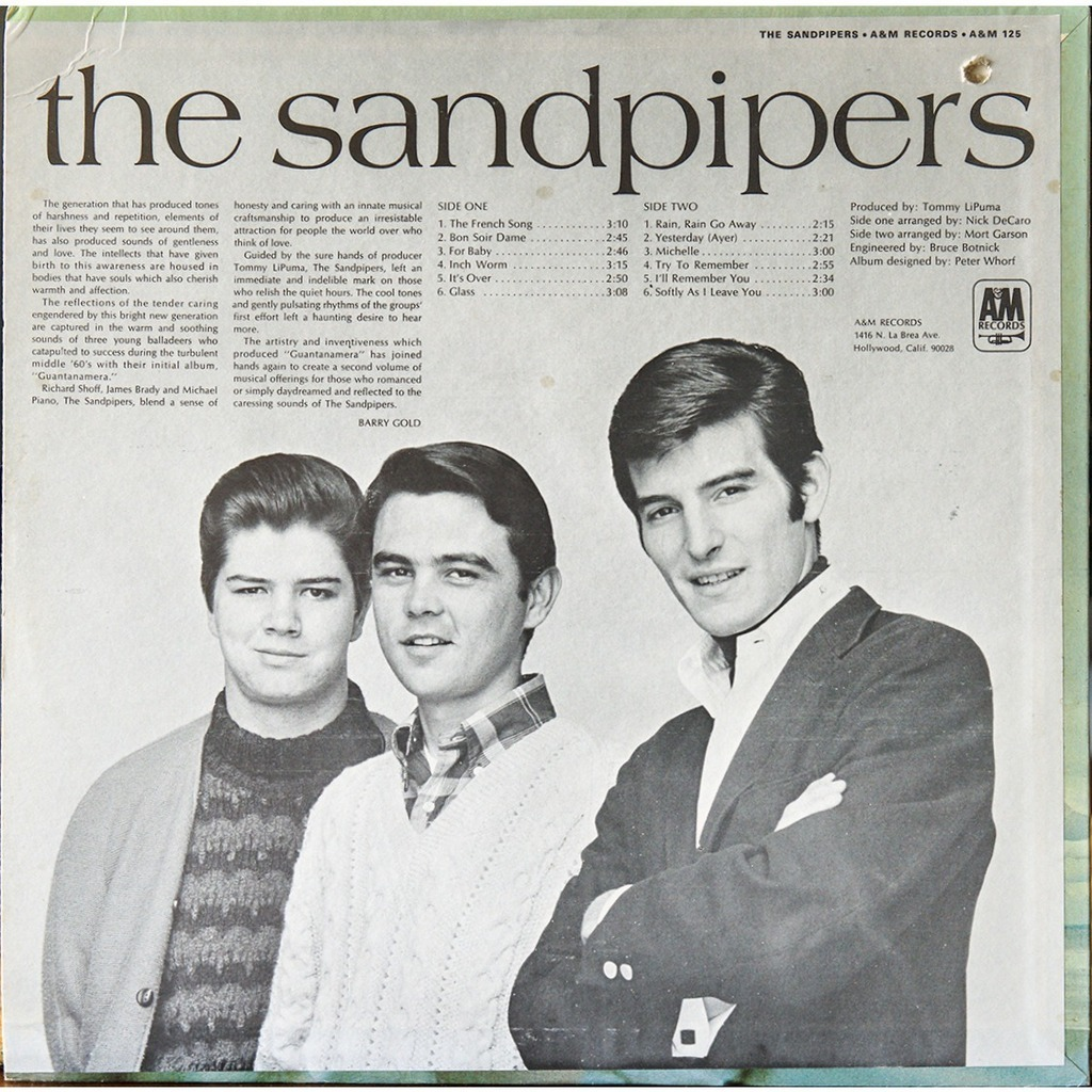 The Sandpipers By The Sandpipers Lp With Rarissime Ref