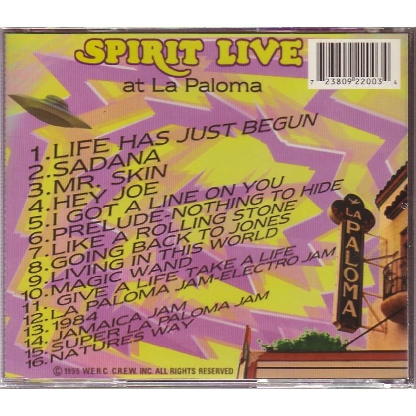 SPIRIT    Randy California, Ed Cassidy,Scott Monah LIVE AT LA PALOMA