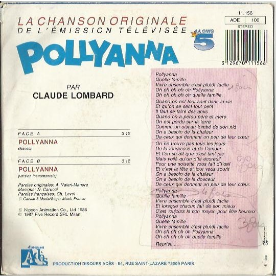 Pollyanna soundtrack / instrumental by Claude Lombard, SP with sleazyx