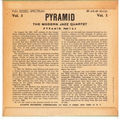 MODERN JAZZ QUARTET PYRAMID VOL.3