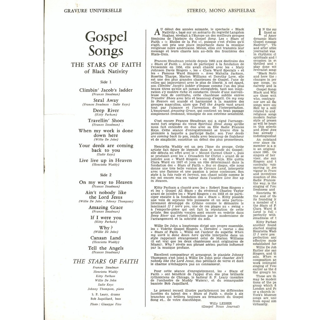 Gospel songs by The Stars Of Faith Of Black Nativity, LP with oliverthedoor