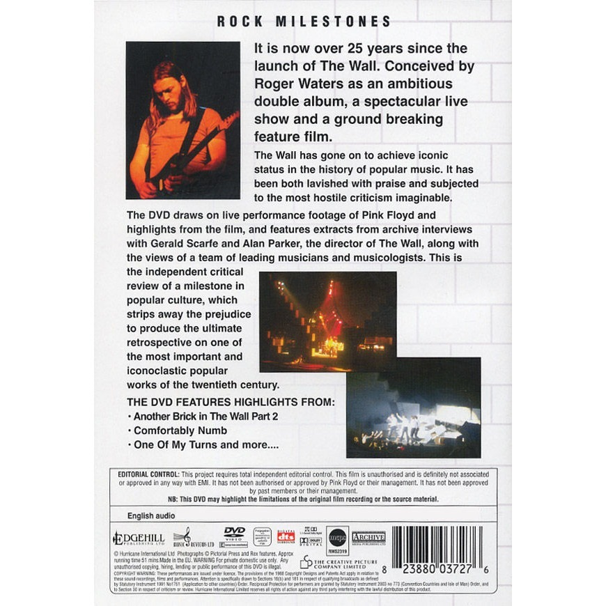 PINK FLOYD ROCK MILESTONES THE WALL CRITICAL REVIEW (Pink Floyd's The Wall on record in concert on film)