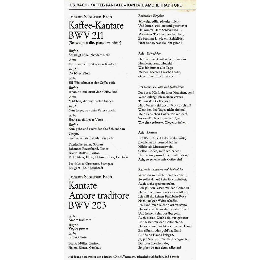 Bach Kaffee Kantate Bwv 211 Kantate Amore Traditore Bwv