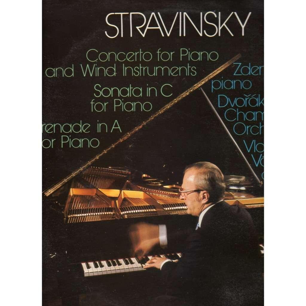 igor stravinsky concerto for piano and wind instruments, sonata in C, serenade in A