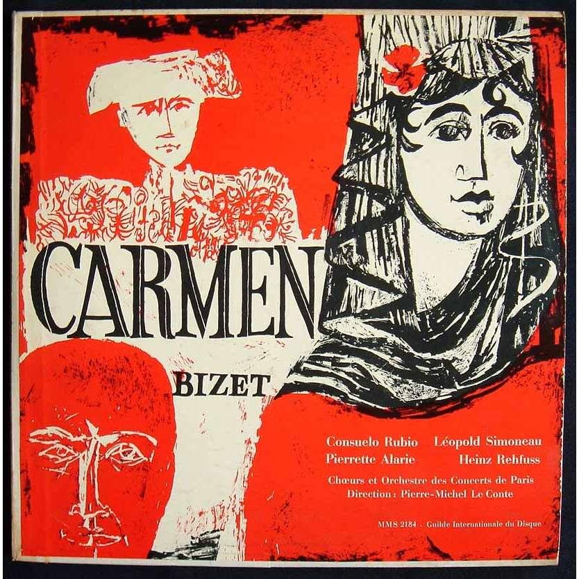 Carmen - choeurs et orchestre de paris avec livret de Bizet / Pierre Michel Le Conte / Rubio / Simoneau, 33T x 3 chez maziksound - Ref:115773744