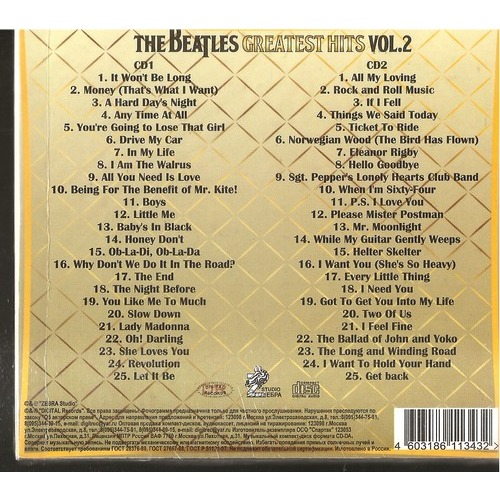 Greatest Hits Vol 2 By The Beatles Cd X 2 With