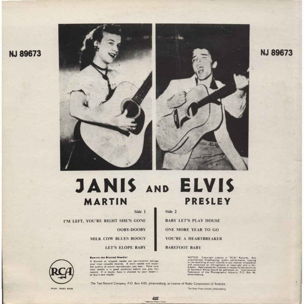 Janis And Elvis By Janis Martin And Elvis Presley 10inch