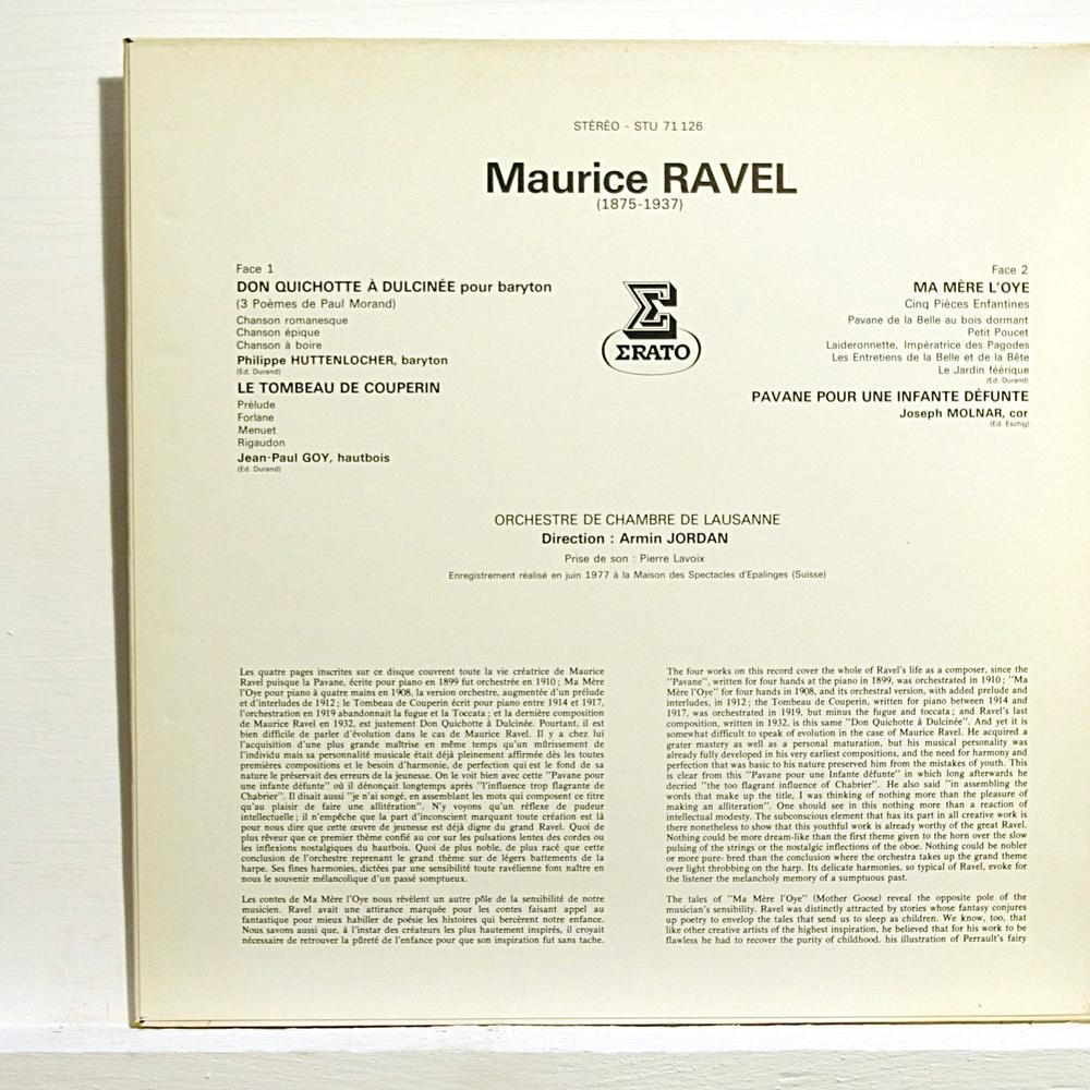 Ravel Don Quichotte A Dulcinee Le Tombeau De Couperin Ma Mere Loye De Armin Jordan 33 13 Rpm Gatefold Con Elyseeclassic