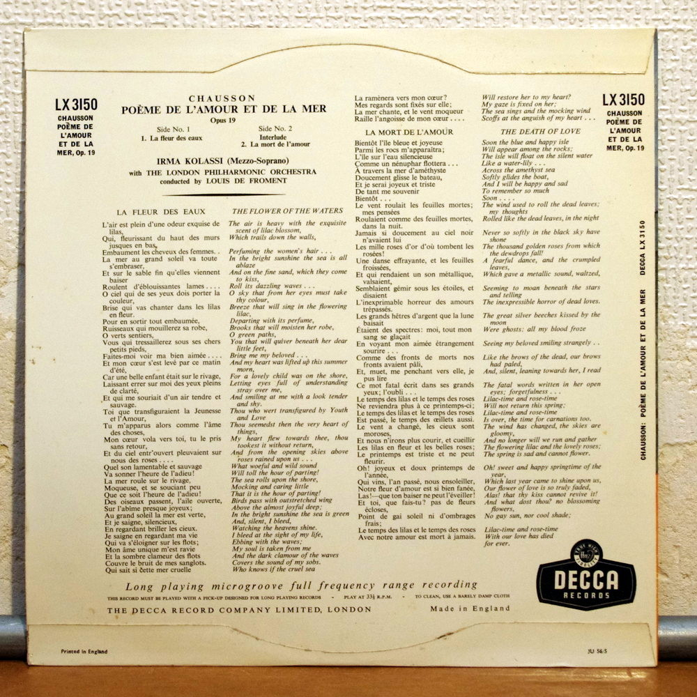 Chausson Poeme De Lamour Et De La Mer Op19 De Irma Kolassi 25 Cm Con Elyseeclassic