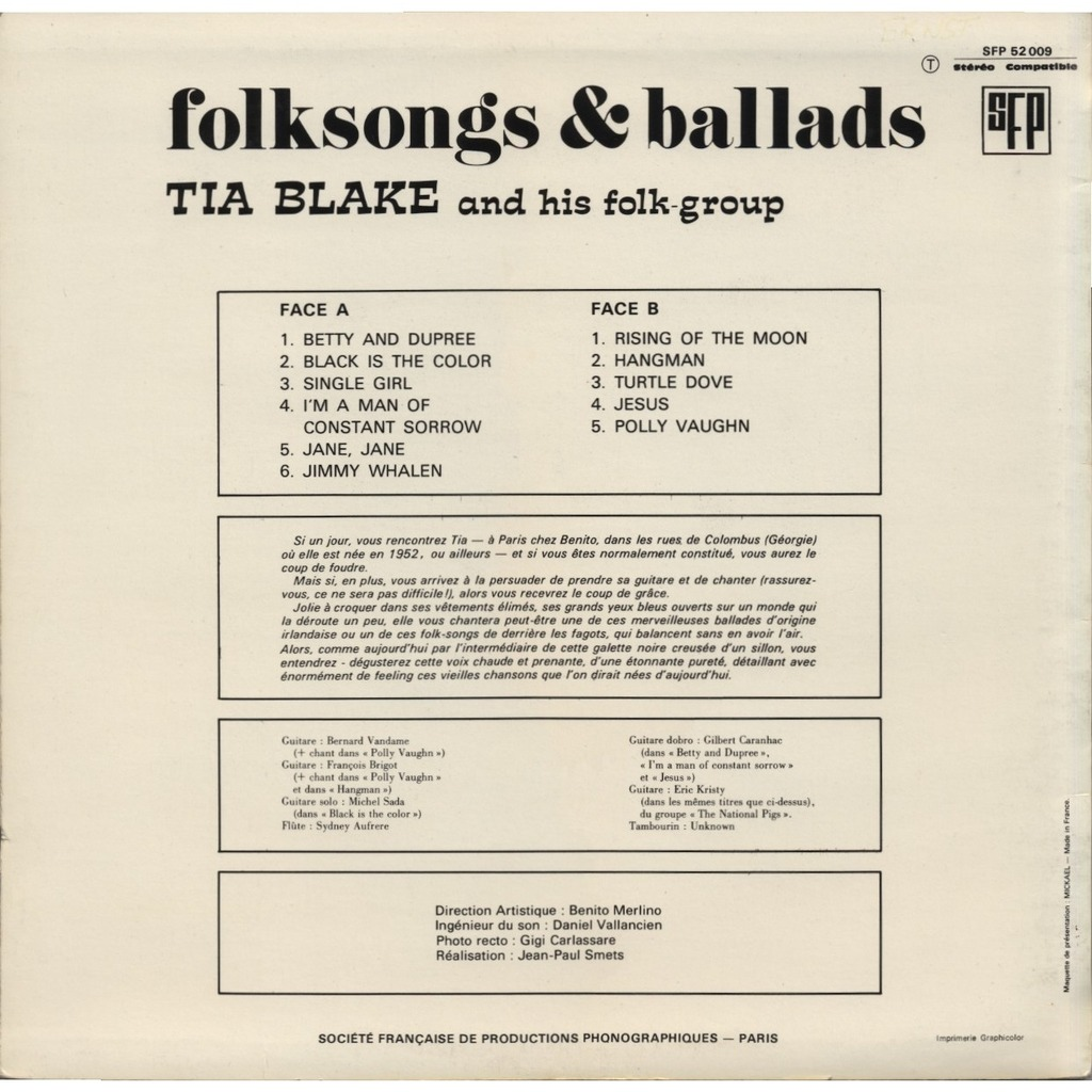 Tia Blake And Her Folk Group Folksongs And Ballads