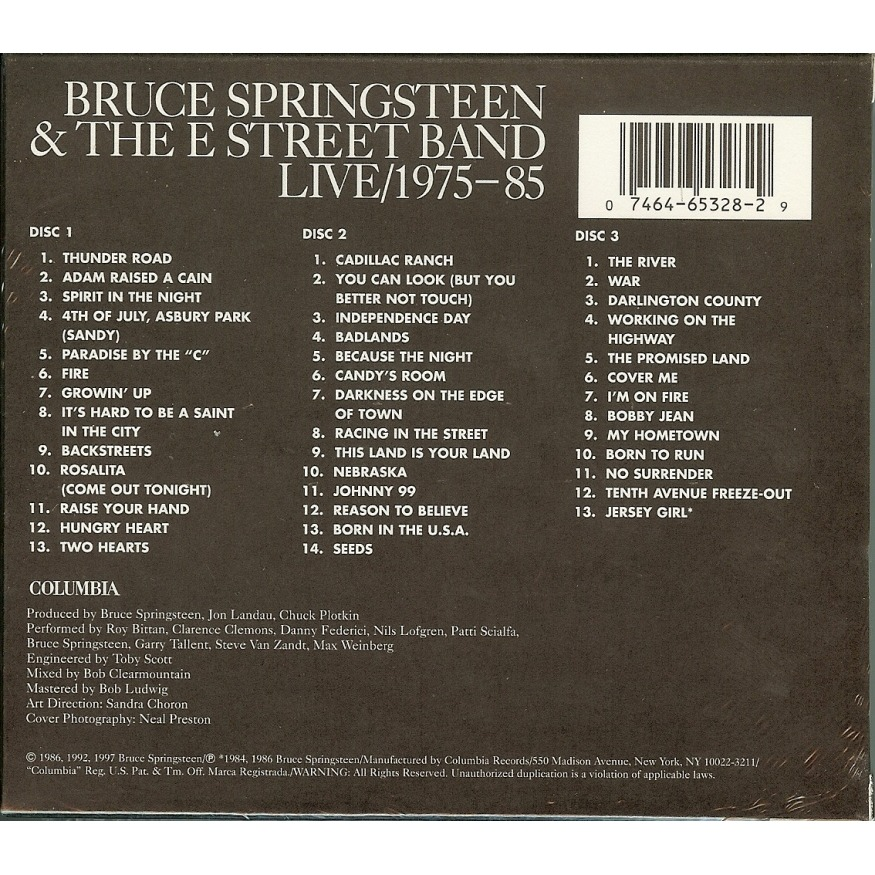 Bruce Springsteen Live 1975-85 - Germany CBS 1986 deleted 40-track 3CD
