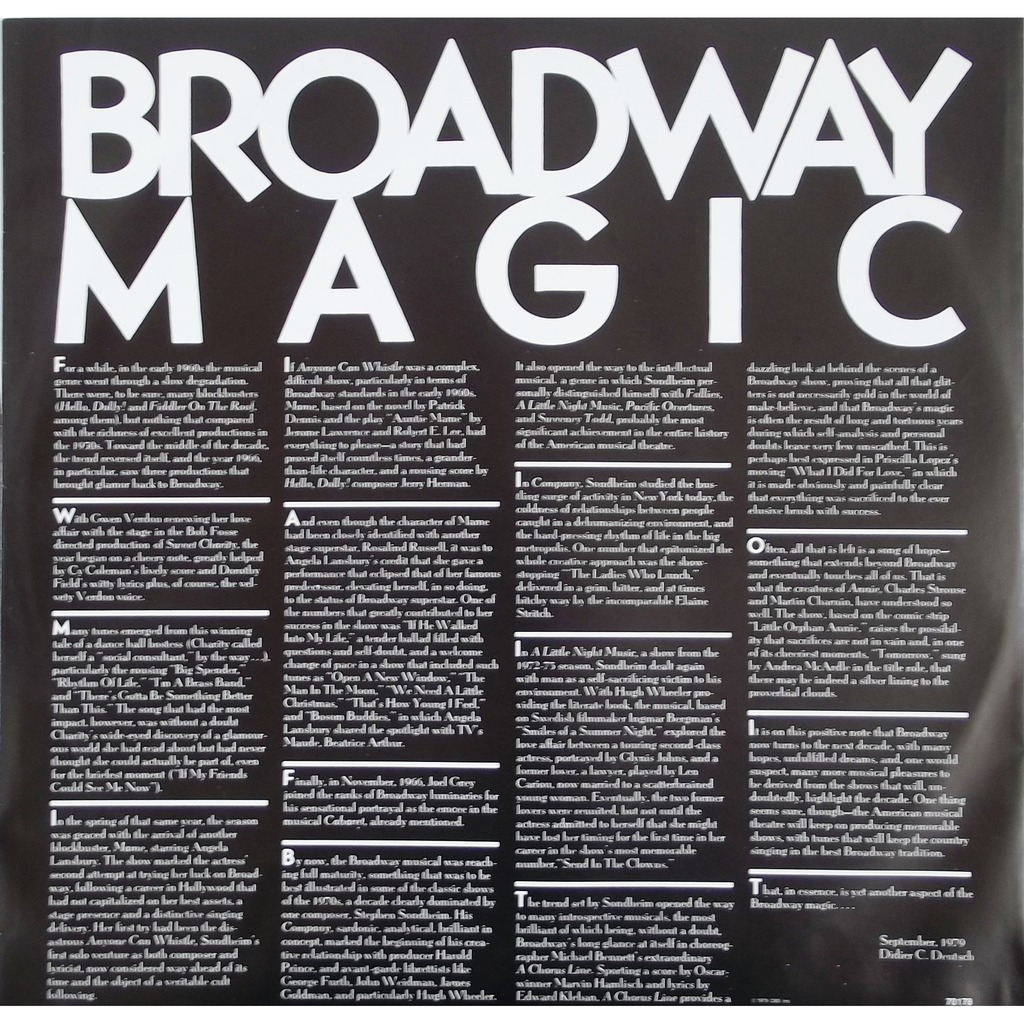 broadway magic, the best of the great broadway musicals by broadway