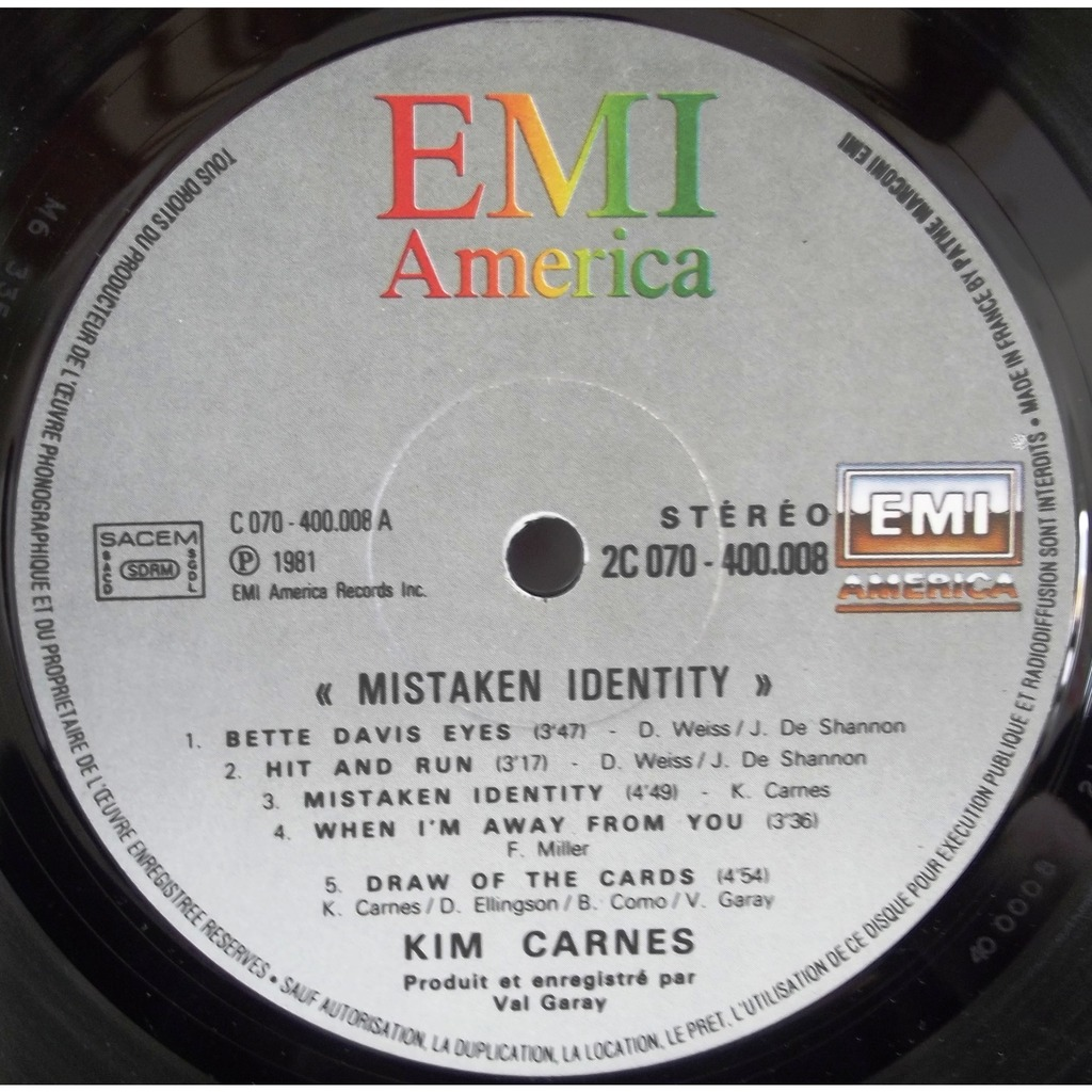 Mistaken Identity By Kim Carnes Lp With Vinyl59 Ref
