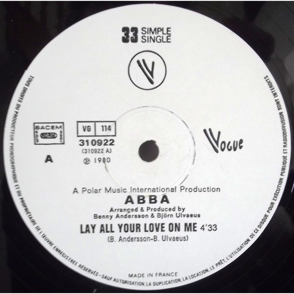 Paroles Lay All Your Love On Me par Abba - Lyrics