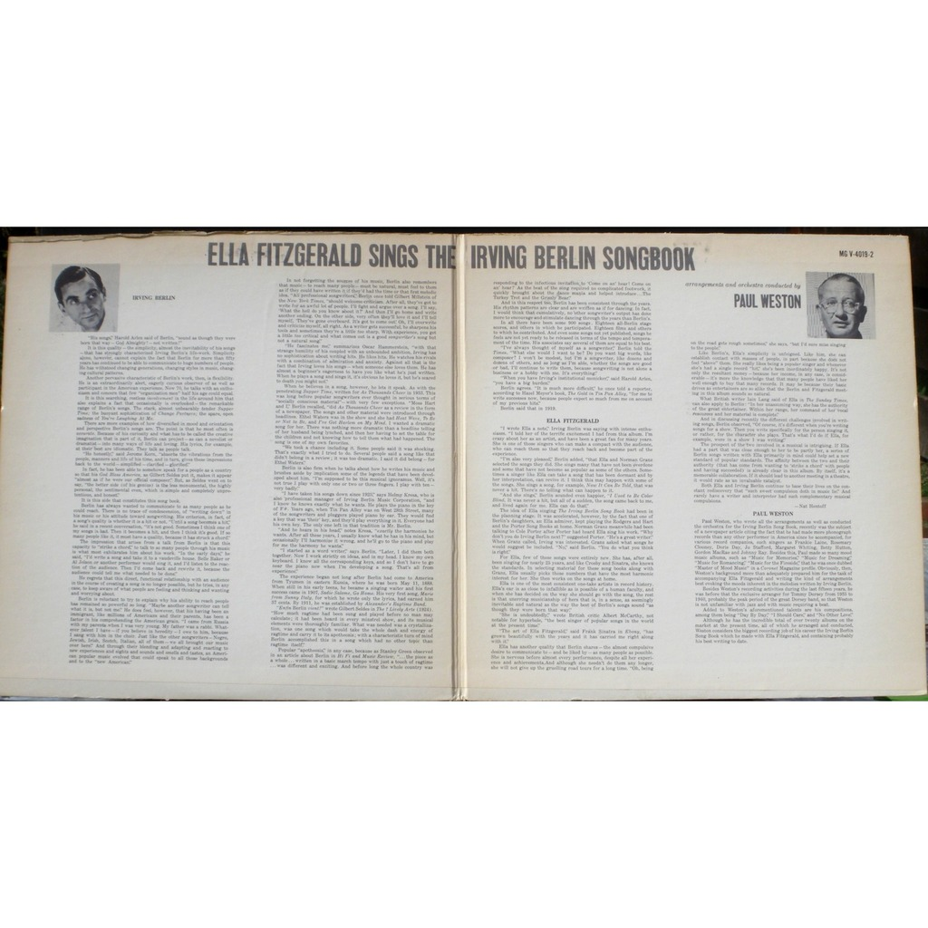 Ella Fitzgerald Sings The Irving Berlin Song Book By Ella