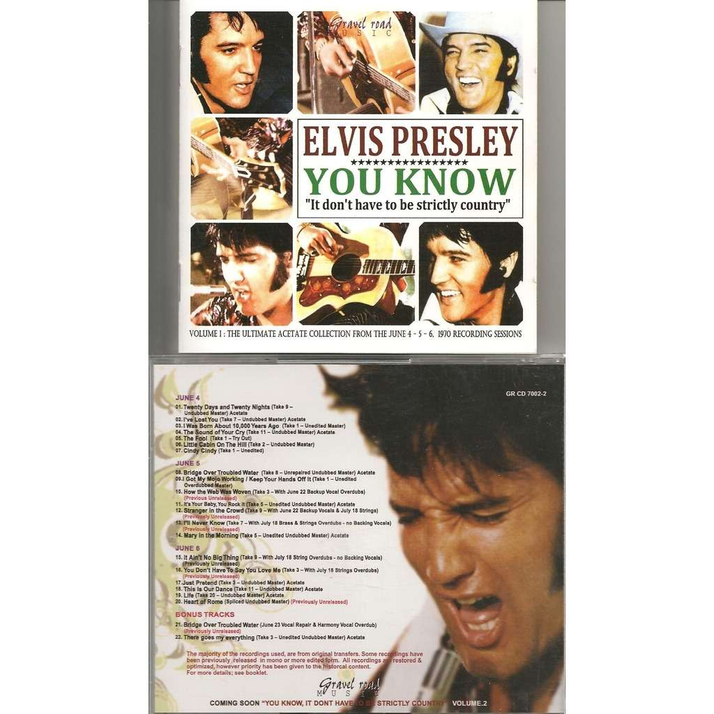 elvis presley 001 cd elvis presley you know it don't have to be strictly country vol.1 cd ! 22 outtakes 1970 !