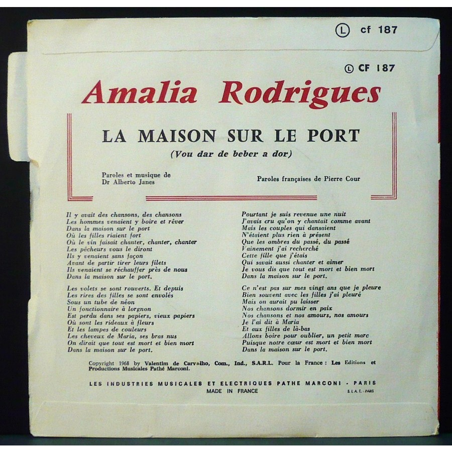 La maison sur le port un fado de amalia rodrigues sp - Amalia rodrigues la maison sur le port ...