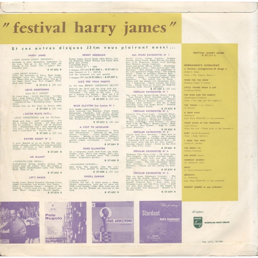 HARRY JAMES et son orchestre (and his orchestra) Festival Harry James / the touch = le grisbi, Hernando's hideaway = Amour, castagnettes et tango