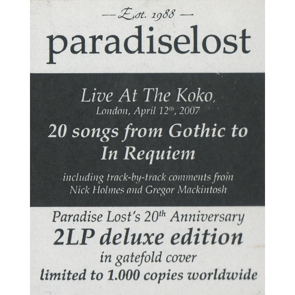 Paradise Lost The Anatomy Of Melancholy 2xlp Ltd Deluxe Edit