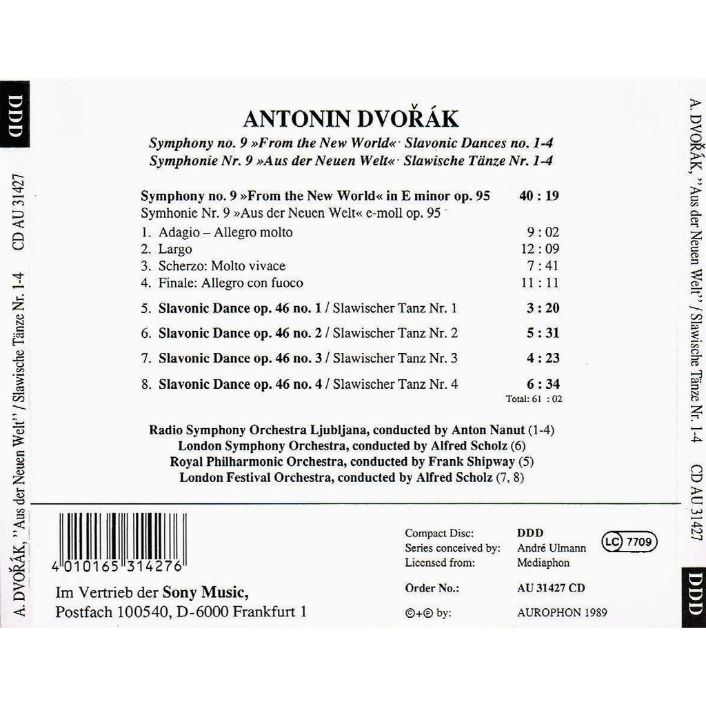 Dvořák: symphony no  9 from the new world / slavonic dances no  1-4 by  Anton Nanut