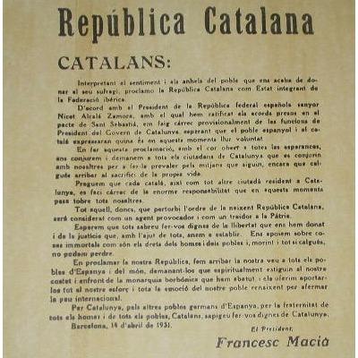Francesc Macia macia proclamant la republica catal Francesc Macia macia proclamant la republica catalana 14 avril 1931/ el president macia annuncia al
