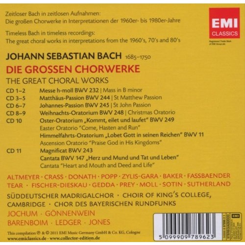 BACH, JOHANN SEBASTIAN The Great Choral Works / Jochum, Gönnenwein, Barenboim, Ledger, Jones