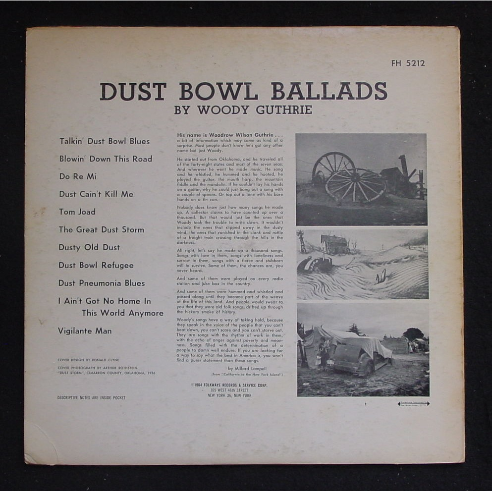 Dust Bowl Ballads By Woody Guthrie Lp With Themroc Ref
