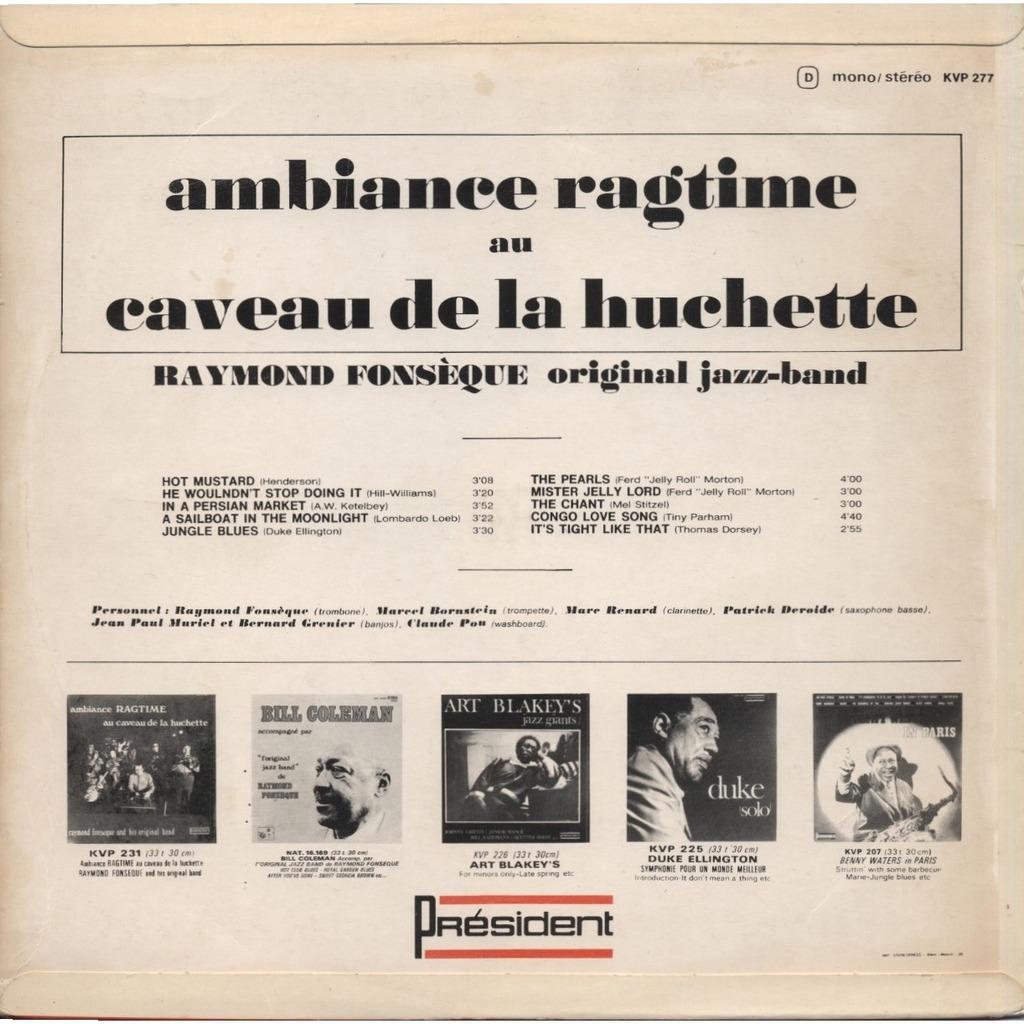 RAYMOND FONSEQUE Original Jazz-Band Ambiance Ragtime N° 2 Au Caveau De La Huchette ( Club des Inemmerdables ) + INSERT