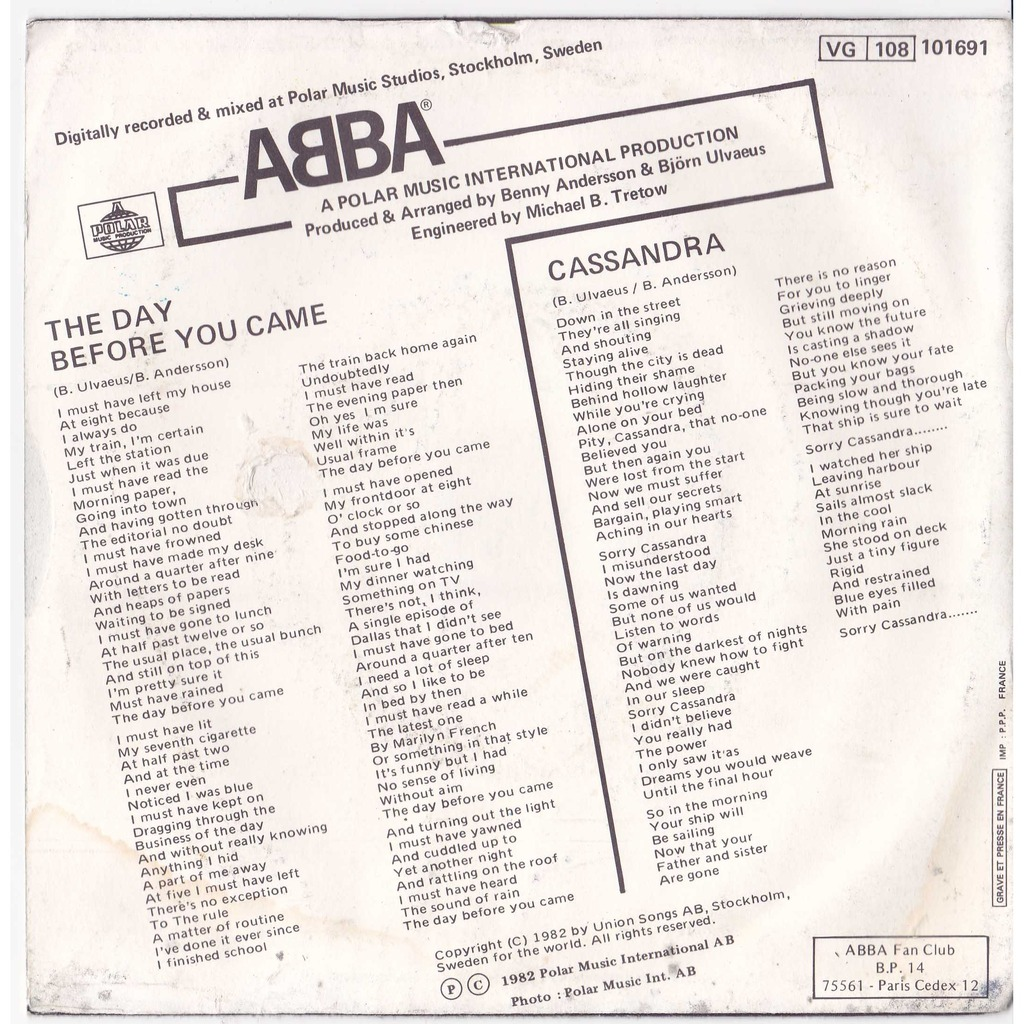 ABBA THE DAY BEFORE YOU CAME / CASSANDRA