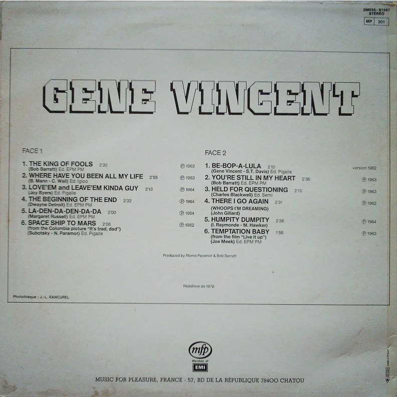 VINCENT GENE LES PLUS GRANDS NOMS DU ROCK