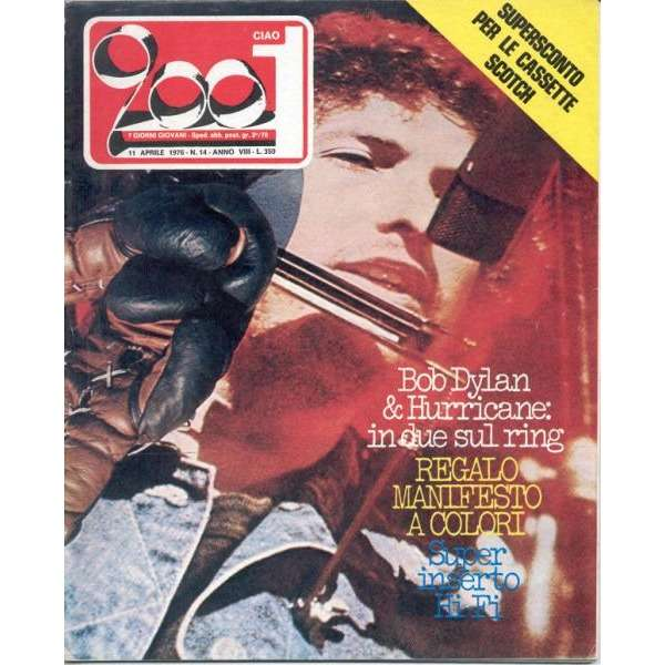 Bob Dylan CIAO 2001 (11.04.1976) (ITALIAN 1976 DYLAN FRONT COVER MAGAZINE)