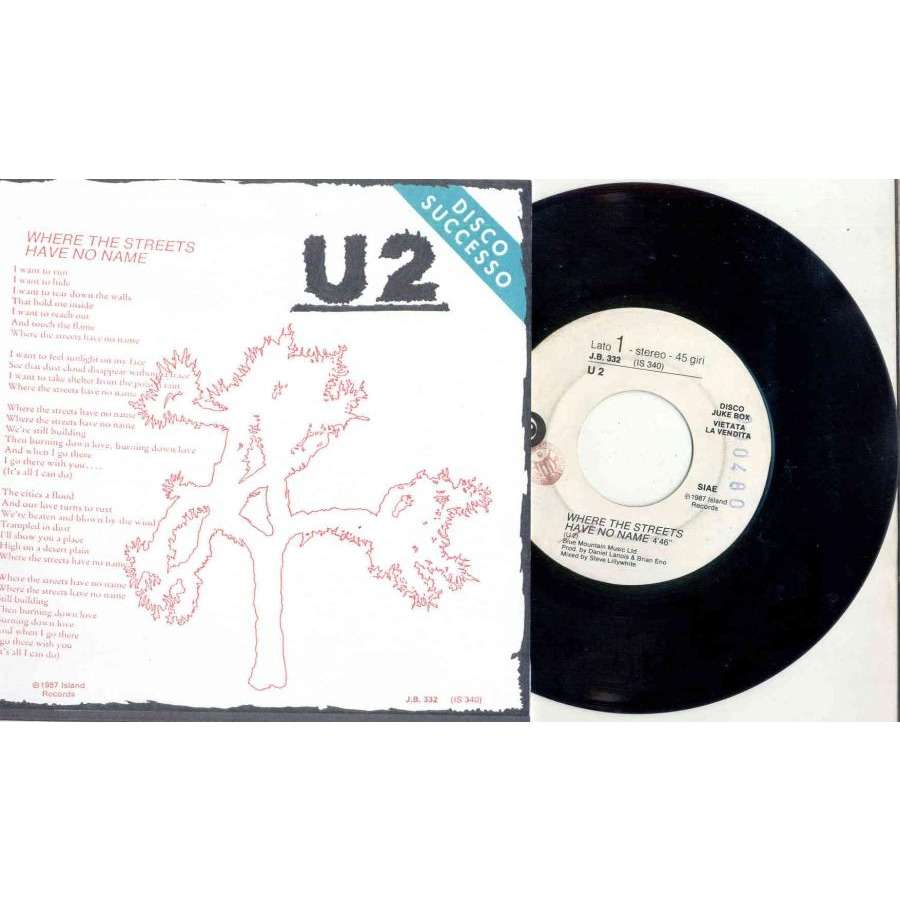 U2 Where the streets have no name (Italian 1987 1-trk w/label DJ 7 promo single unique 'SPER' ps)