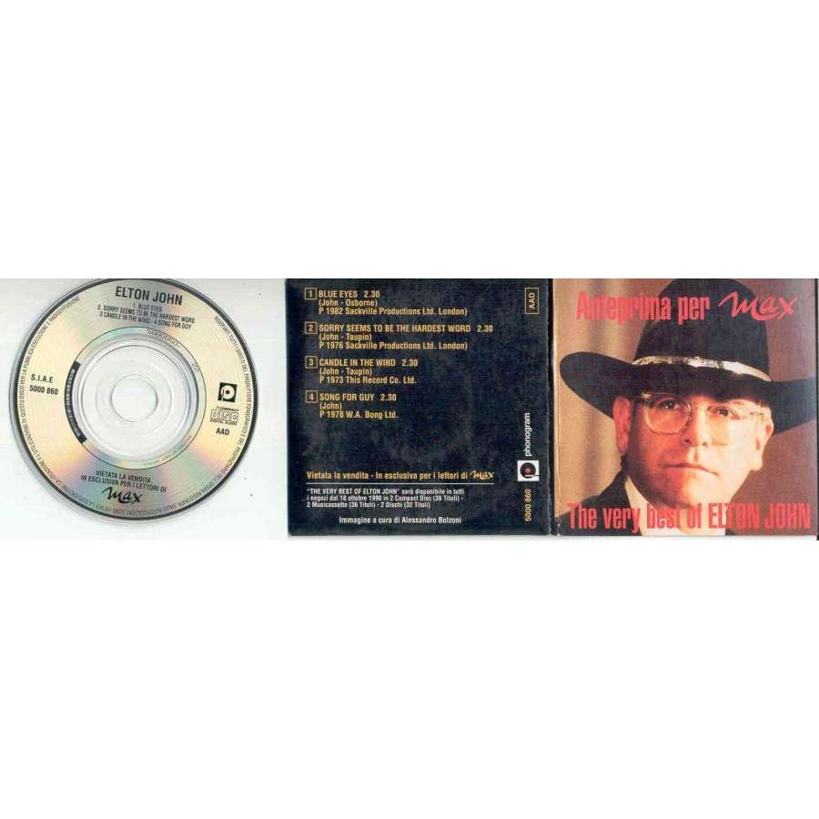 Elton John Anteprima per Max (Italian-only promo-only 4-trk 3inch CD unique card gf ps)