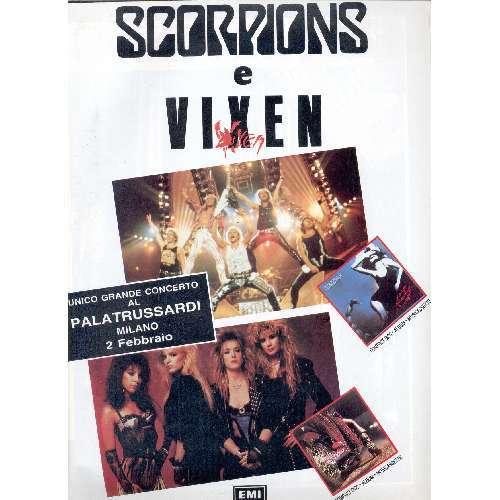 Scorpions / Vixen Milano Palatrussardi 02.02.1989 (Italian 1989 promo type advert concert poster)