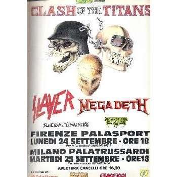 Megadeth / Slayer / Suicidal Tendencies Clash Of The Titans Italian Tour 1990 (Italian 1990 promo type advert tour poster)
