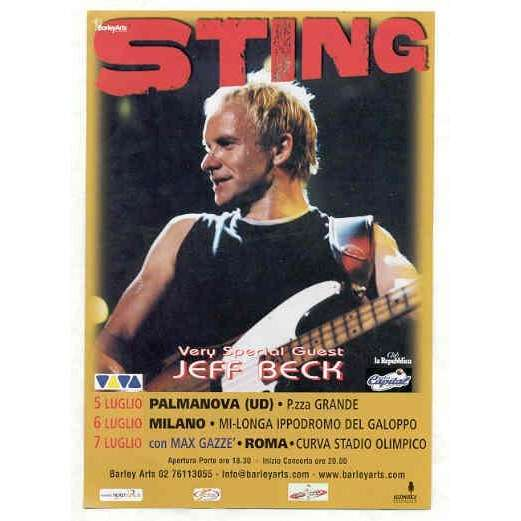 Jeff Beck Jeff Beck & Sting 2001 Italian Tour (Special guest 2001 italian tour promo flyer)