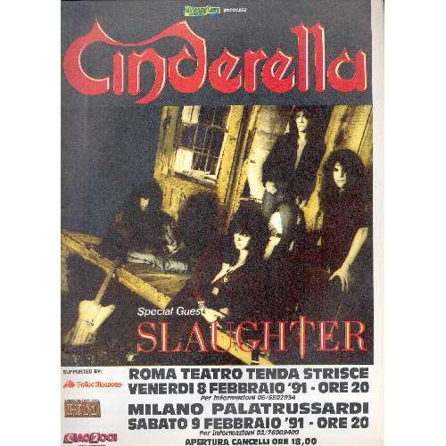Cinderella Milano & Roma Feb. 1991 (Italian 1991 promo type advert Tour poster)