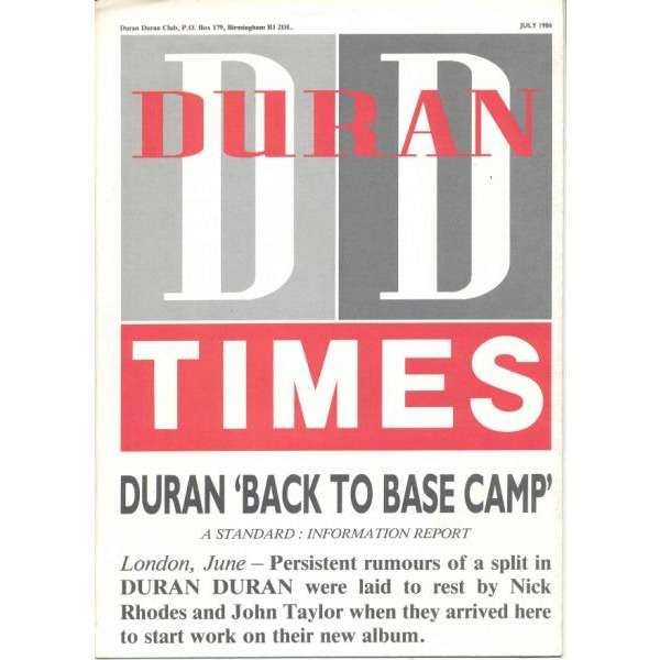 Duran Duran DURAN DURAN TIMES (JULY 1986) (UK 1986 OFFICIAL FAN-CLUB MAGAZINE)
