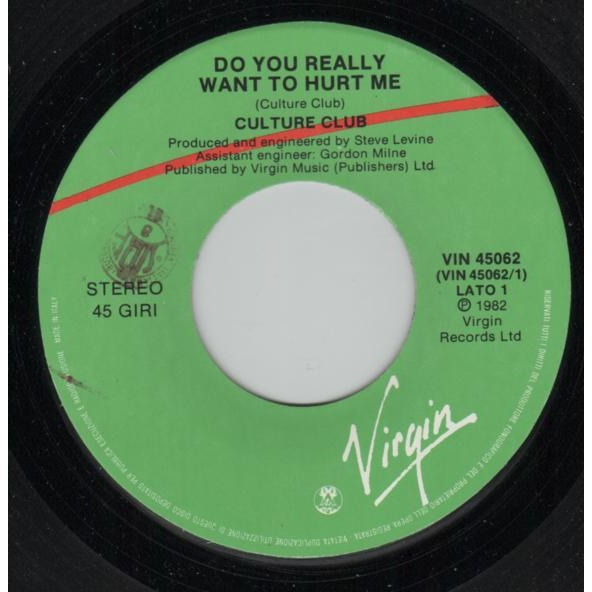 Boy George / Culture Club Do you really want to hurt me (Italian 1982 2-trk 7 single full ps)