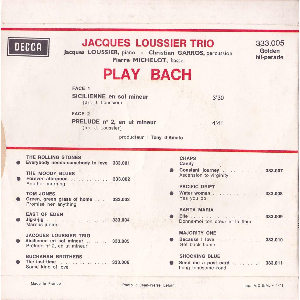 Jacques LOUSSIER TRIO c garros & p michelot PLAY BACH  sicilienne en sol mineur / prelude en ut ( do ) mineur - jean sebastien bach