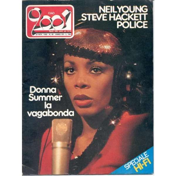 Donna Summer CIAO 2001 (30.11.1980) (ITALIAN 1980 DONNA SUMMER FRONT COVER MAGAZINE)