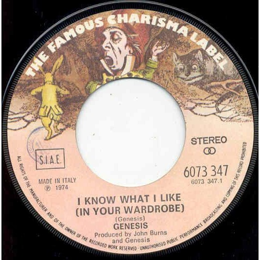 Genesis I Know what I like (Italian 1974 2-trk 7 single unique ps)
