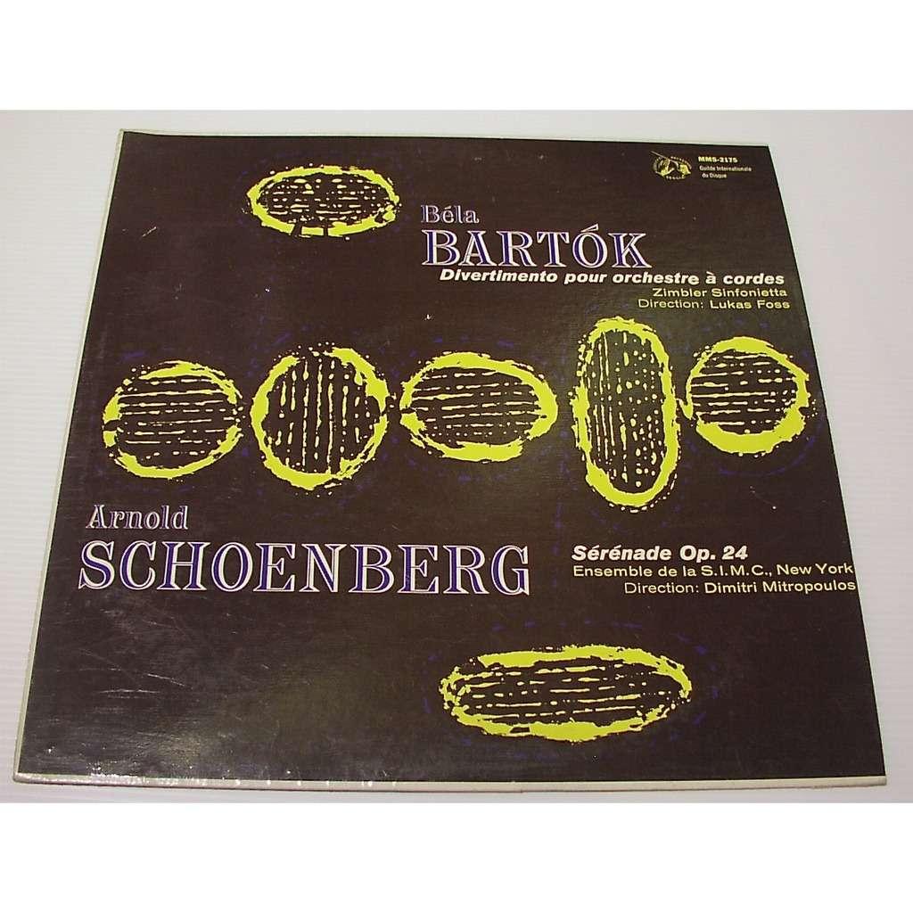 bartok / schoenberg Divertimento pour orchestre à cordes (Zimbler Sinfonietta) / Sérénade Op.24 (Ens. S.I.M.C New York)