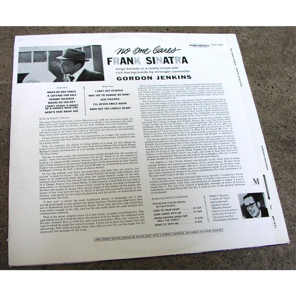 frank sinatra NO ONE CARES