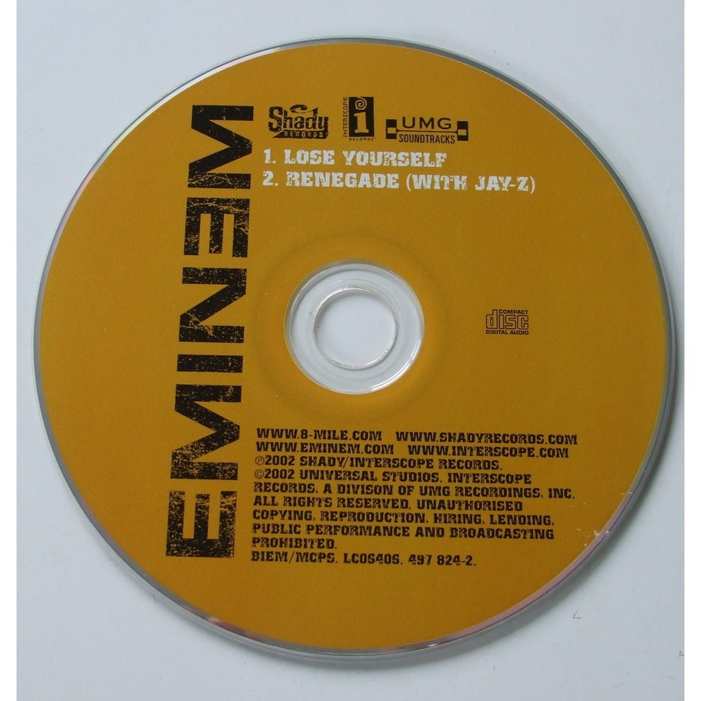 Lose yourself renegade with jayz de eminem cd single con dom88 eminem lose yourself renegade with jayz malvernweather Choice Image