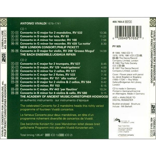 Concerto for 2 mandolins, concertos by Vivaldi, Antonio, CD x 2 with  melomaan