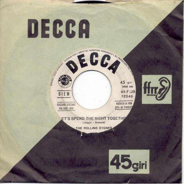Rolling Stones Let's Spend The Night Together (Italian 1967 w/label 2-trk 7 promo single Decca slv)