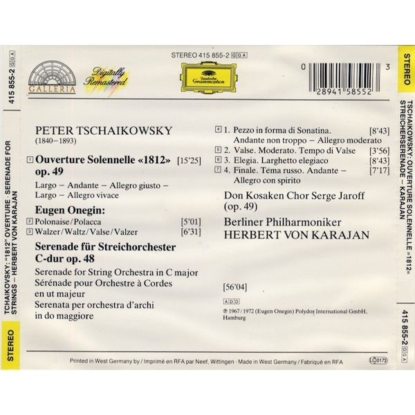 1812 overture, serenade, etc / karajan by Tchaikovsky, Pyotr Ilyich, CD  with melomaan